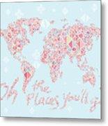 World Map Geometric Pink Mint  Metal Print