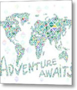 World Map Geometric Spring Color Metal Print