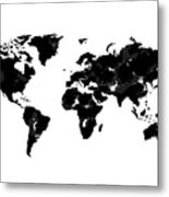 World Map In Black And White Metal Print