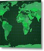 World Map In Green Metal Print by Michael Tompsett