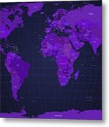 World Map In Purple Metal Print by Michael Tompsett