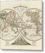 World Map In Two Hemispheres Metal Print