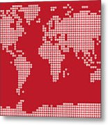 World Map Love Hearts Metal Print by Michael Tompsett