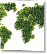 World Map Made Of Green Trees Metal Print