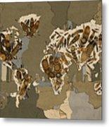World Map Mandala Feathers 4 Metal Print