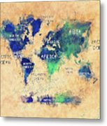 World Map Oceans And Continents Art Metal Print