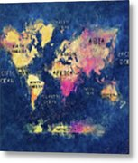 World Map Oceans And Continents Metal Print