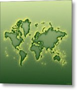 World Map Opala Square In Green And Yellow Metal Print