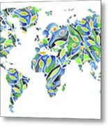 World Map Organic Green And Blue Metal Print