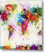 World Map Paint Drop Metal Print