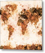 World Map Paint Splashes Bronze Metal Print