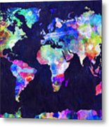World Map Urban Watercolor Metal Print by Michael Tompsett