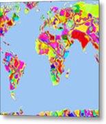 World Map Viscous Metal Print