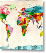 World Map Watercolors Metal Print