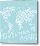 World Map White Flowers Aqua Blue Metal Print