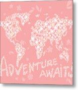 World Map White Flowers Pink Metal Print