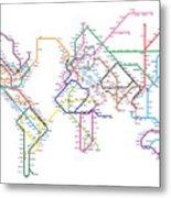 World Metro Map Metal Print by Michael Tompsett