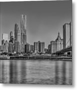 World Trade Center And The Brooklyn Bridge Bw Metal Print