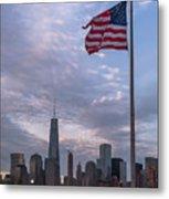 World Trade Center Freedom Tower New York City American Flag Metal Print