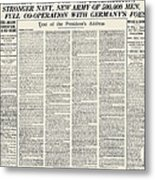 World War I: Declaration Metal Print