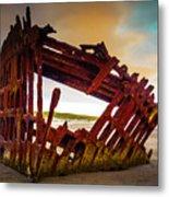 Worn Rusting Shipwreck Metal Print