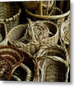 Woven Baskets For Sale At A Market Metal Print