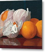 Wrapped Oranges On A Tabletop Metal Print