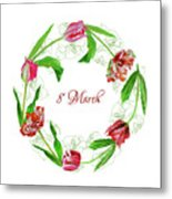 Wreath With Tulips Metal Print