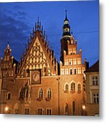 Wroclaw Old Town Hall At Night Metal Print