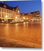 Wroclaw Old Town Market Square At Night Metal Print