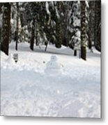 Wrong Way Snowman Metal Print