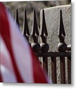 Wrought Iron And American Flag Metal Print