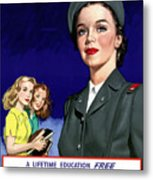 Ww2 Us Cadet Nurse Corps Metal Print by War Is Hell Store