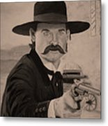 Wyatt Earp - Kurt Russell B And W Metal Print