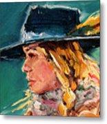 Wyoming Cowgirl Close Metal Print