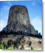 Wyoming Devils Tower With 8 Climbers August 7th 12 36pm 2016 With Inserts Metal Print