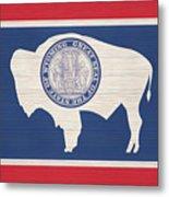 Wyoming Rustic Flag On Wood Metal Print