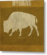 Wyoming State Facts Minimalist Movie Poster Art Metal Print
