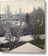 Wyoming Winter Window Reflections Metal Print