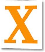 X In Tangerine Typewriter Style Metal Print