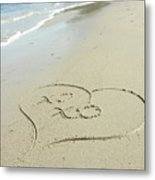 Xoxo - Message Written In The Sand Metal Print
