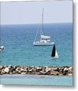 yacht sailing in the Mediterranean sea Metal Print