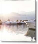 Yachts At The Sunset Metal Print