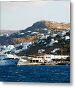 Yachts Docked At Port Skala Greece On Patmos Island Metal Print