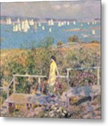 Yachts In Gloucester Harbor Metal Print by Childe Hassam