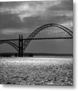Yaquina Bay Bridge Black And White Metal Print