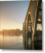 Yaquina Bay Bridge - Golden Light 0634 Metal Print