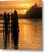 Yaquina Bay Sunset - Vertical Metal Print
