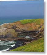 Yaquina Head Lighthouse And Bay Metal Print
