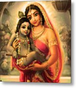 Yashoda And  Krishna 4 Metal Print